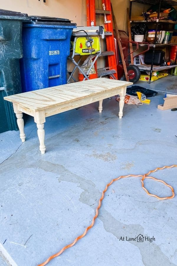 The base of the bench built sitting in my garage.