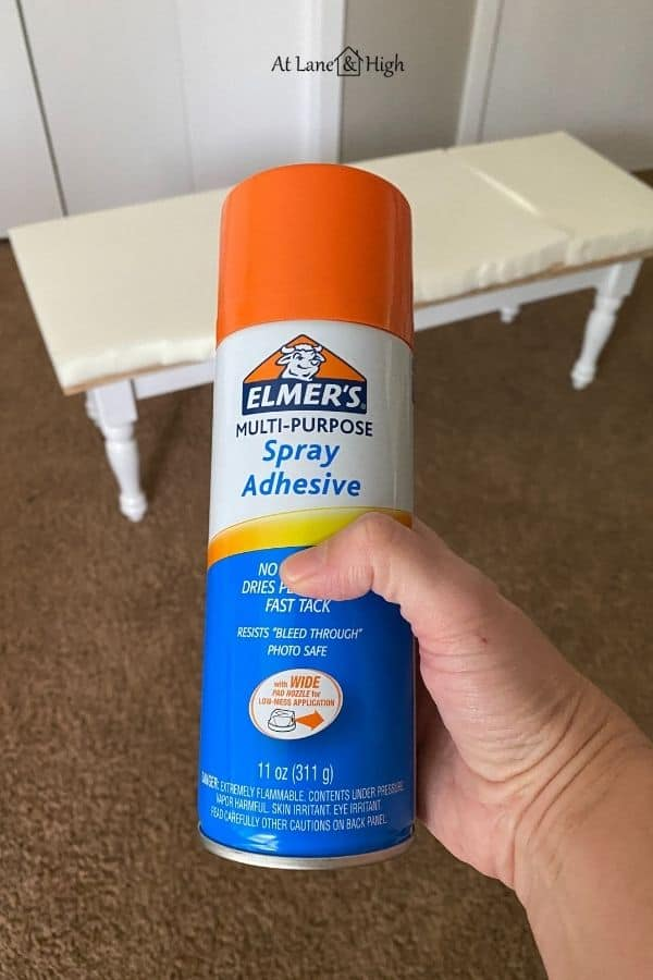 This shows the spray adhesive I used to attach the foam to the plywood, it's made by Elmer's.