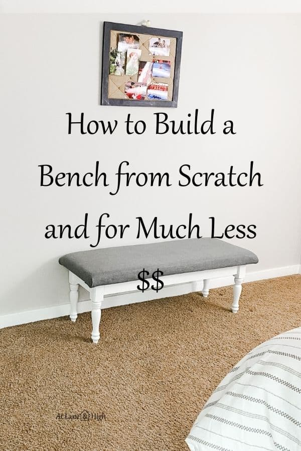 How to build a bench from scratch pin for Pinterest.