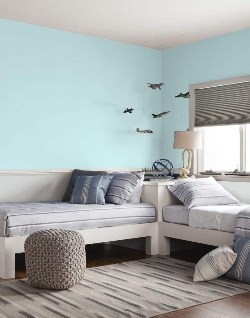 PPG's Misty Aqua painted on the walls in a bedroom.