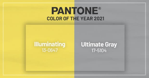 Color samples of Pantone's Ultimate Gray and Illuminating.