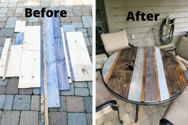 A side by side of scrap wood that was turned into a beautiful table top.