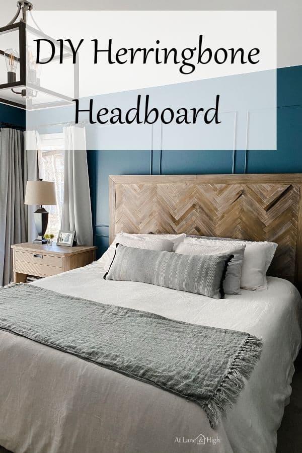 DIY Herringbone Headboard pin for Pinterest.