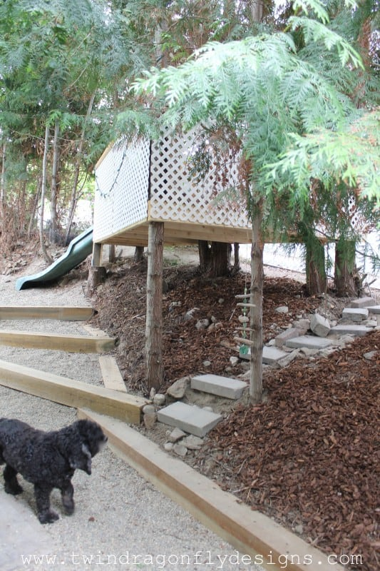 A tree house with a slide.