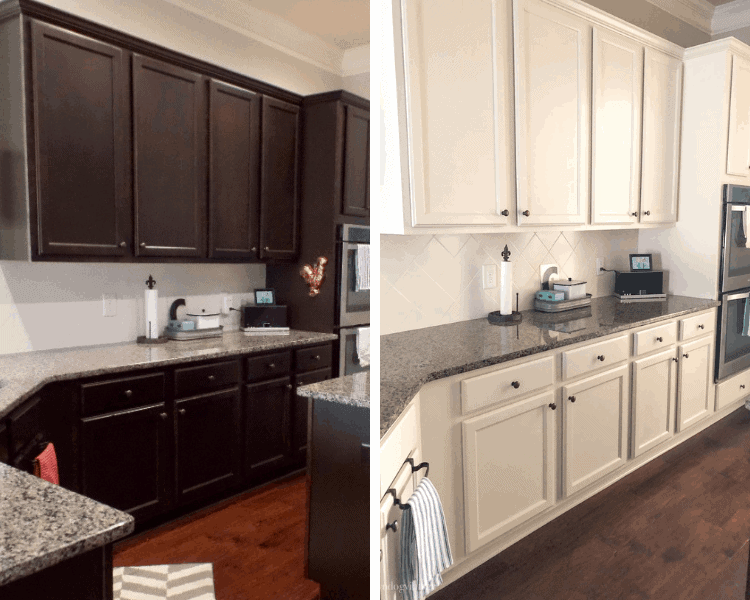 A side by side of a kitchen with dark cabinets and then the cabinets painted white.