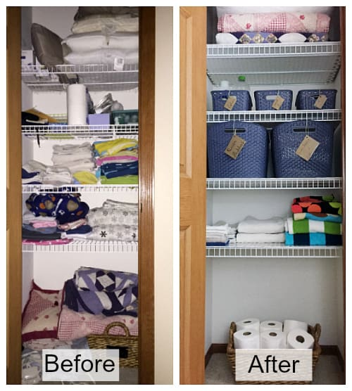 A side by side of a linen closet before organization and after.