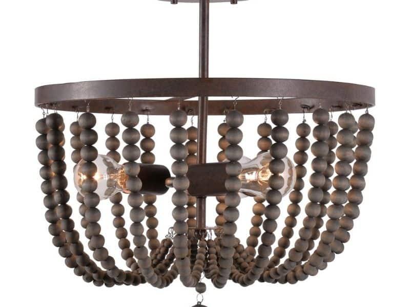 A semi flush beaded chandelier with dark gray beads.