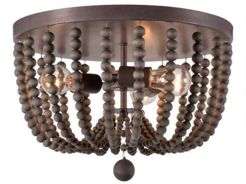 A flush mount beaded chandelier with dark gray beads.