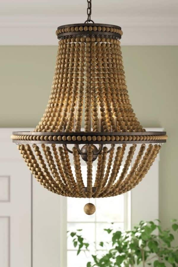 A beaded chandelier with brown beads.