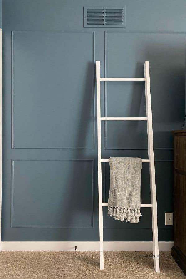 The picture frame molding on the walls with a white blanket ladder leaing against it.