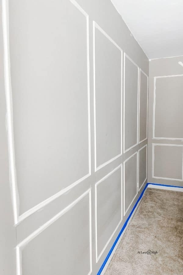 Here the picture frame molding is caulked, wood puttied and primed for paint.