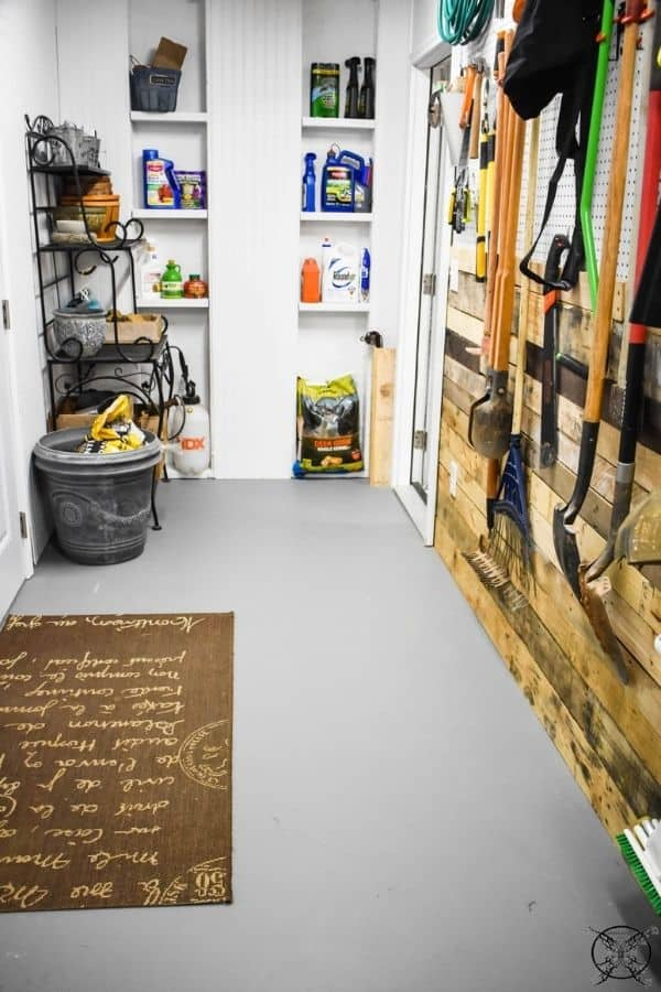 Shed organization using leftover wood and peg board.