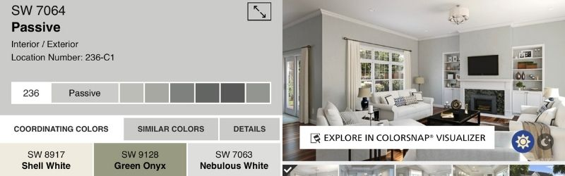 A snapshot of Passive paint color, coordinating colors and a visual of the paint used in a family room.