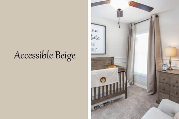 This is a side by side with a paint swatch on the left and a nursery on the right with accessible beige on the walls.