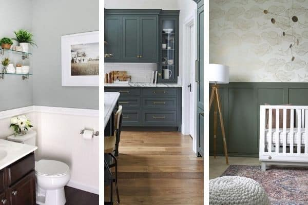 Three different green paint colors in room side by side so you can see which is the best green paint color for you.