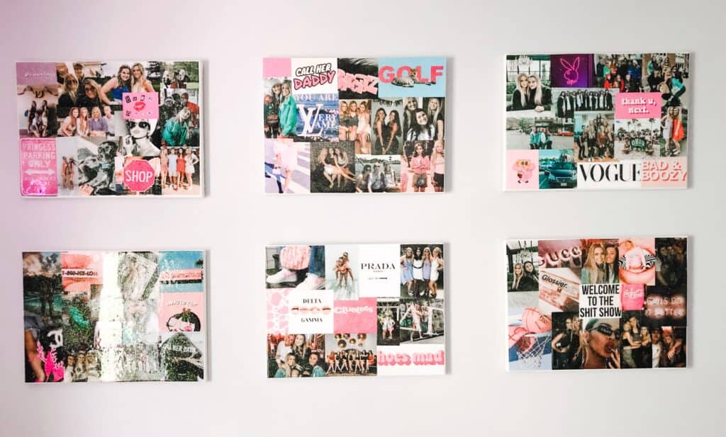 Here are 6 canvases on the wall of her room showing the photos.