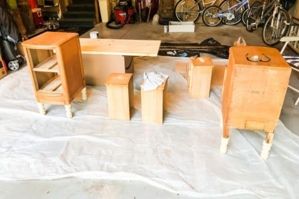 These are all the pieces that have been sanded and are getting ready for primer and paint.