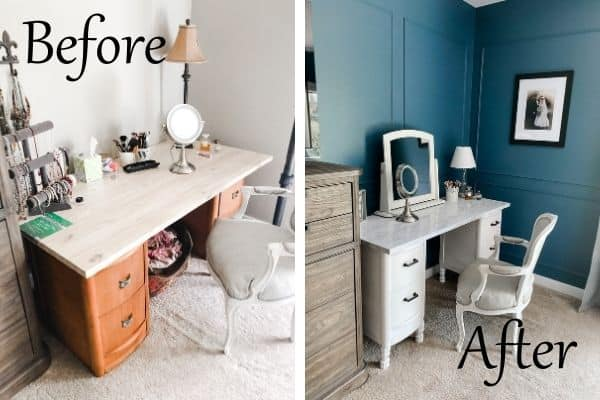 Antique Vanity makeover side by side of before and after.