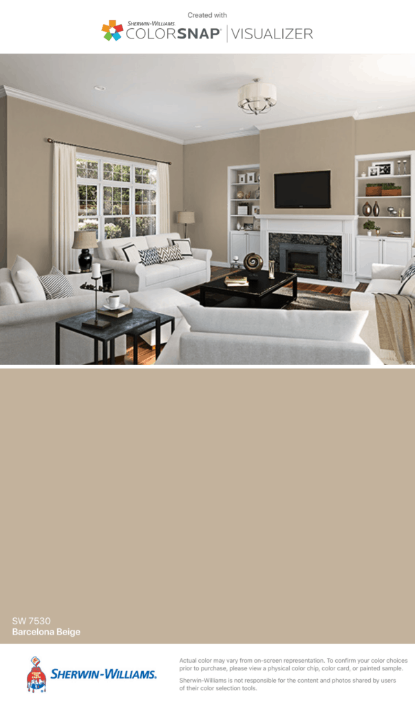 A family room with lots of white furniture and cabinetry which pops off the beige paint color.
