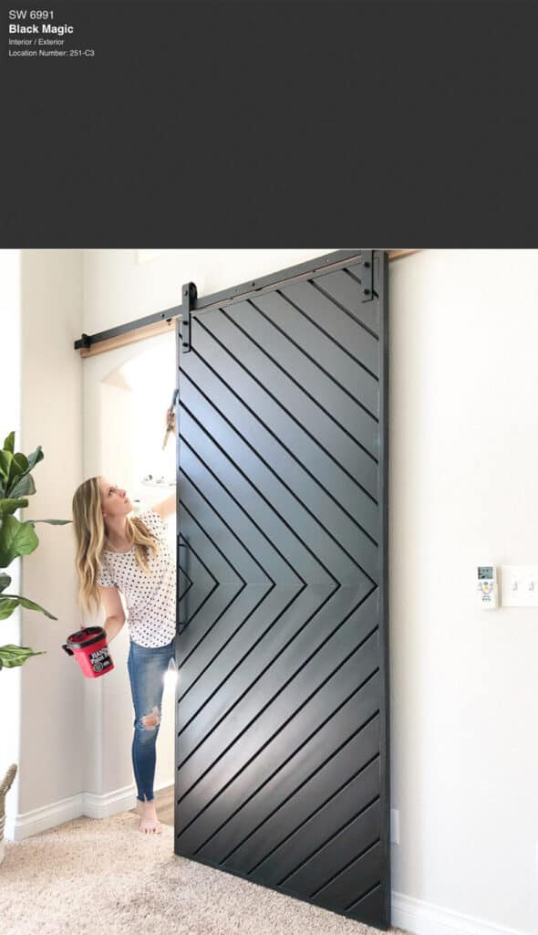A sliding barn door with Black Magic paint color on it.