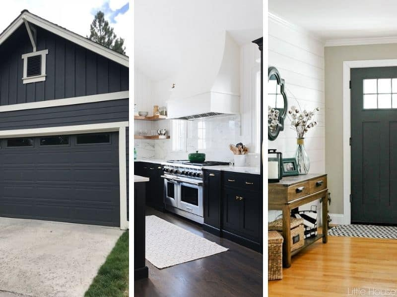 A side by side of three different black paint colors.
