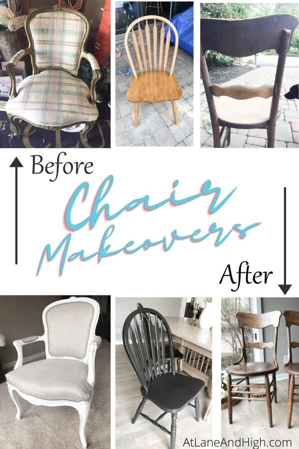 A before and after of all three chairs pin for Pinterest.