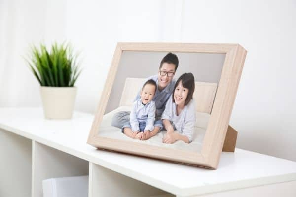 White shelves with a framed family photo and a plant next to it.