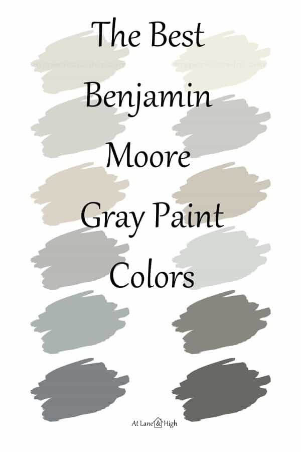 Benjamin Moore Gray paint colors pin for Pinterest.