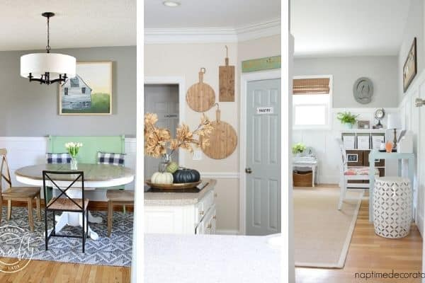 The Best Sherwin Williams Gray Paint Colors in three different rooms.