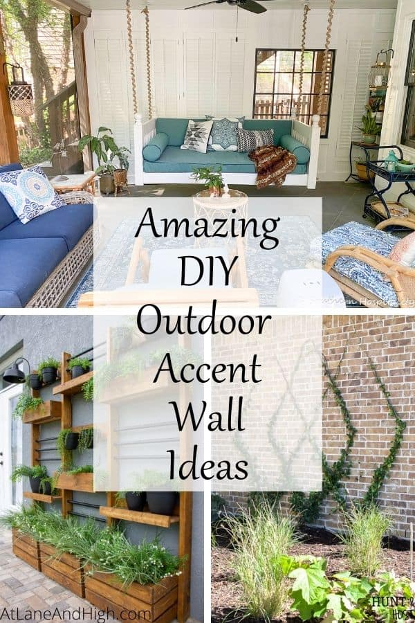 Outdoor accent wall ideas pin for Pinterest.