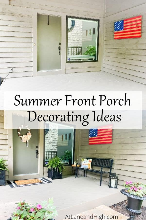 summer front porch decorating ideas pin for Pinterest.