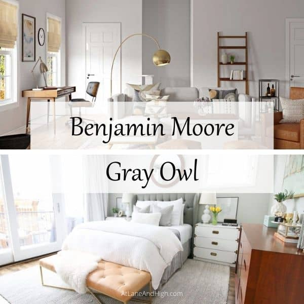 This shows a living room and a bedroom painted with Benjamin Moore Gray Owl.
