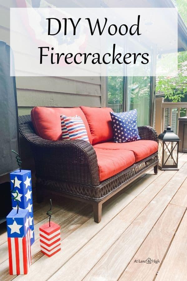 DIY Wood Firecrackers pin for Pinterest.
