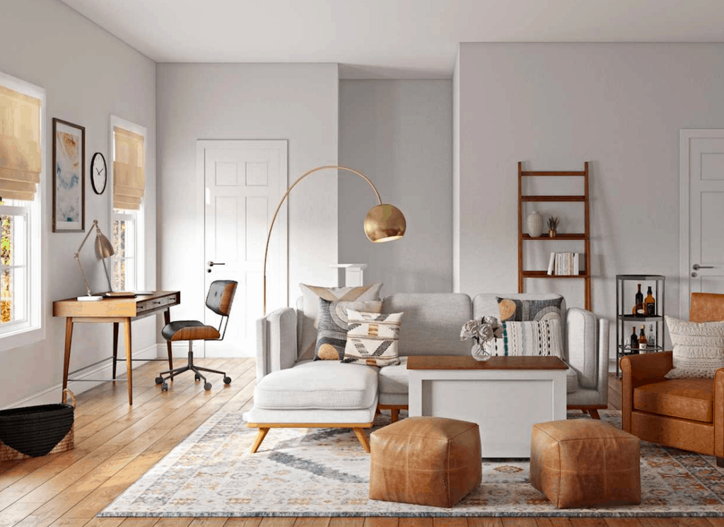 This living room has Gray Owl on the walls and the furniture has lots of white, gray and medium brown tones.