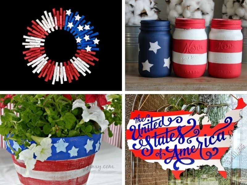 This shows four July 4th decorating ideas  that you can use to decorate for Independence day.