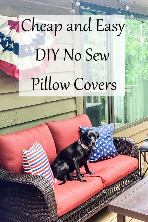 DIY no sew pillow covers pin for Pinterest.