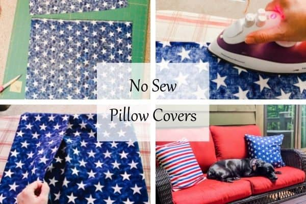 This is 4 photos that show the steps of how to make no sew pillow covers.