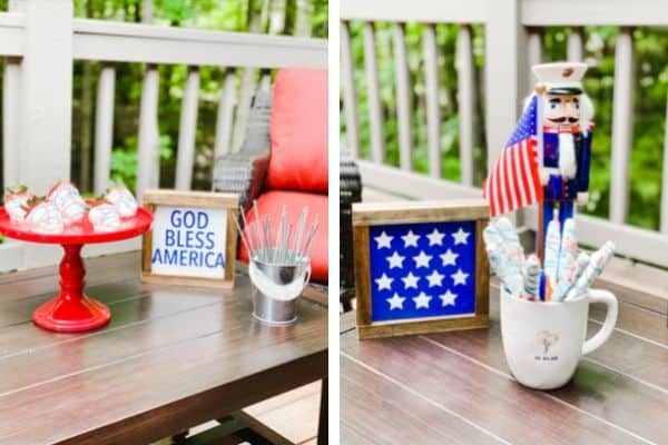 This is two photos of the decor that is on the table, farmhouse signs a marine nutcracker and food.