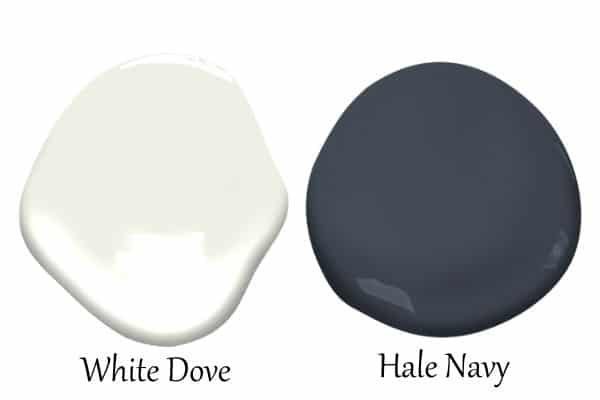 This is a side by side of White Dove and Hale Navy.