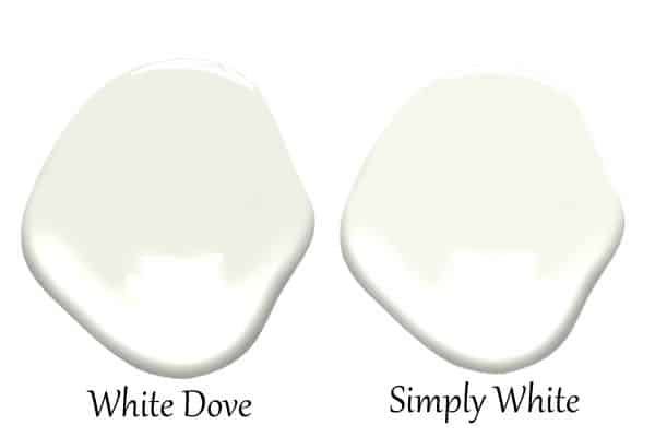 A side by side of White Dove and Simply White.