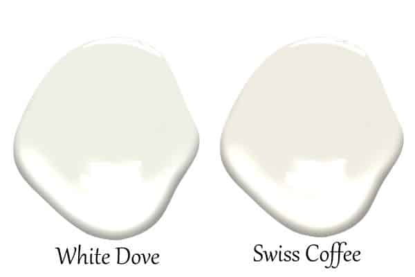 A side by side of White Dove and Swiss Coffee.
