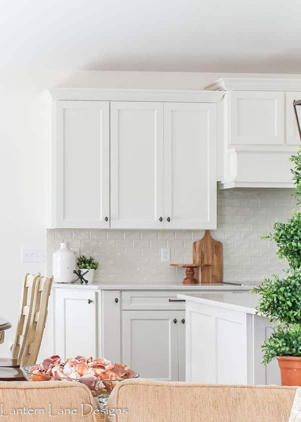 This shows Alabaster on cabinets in a kitchen as well as the walls.