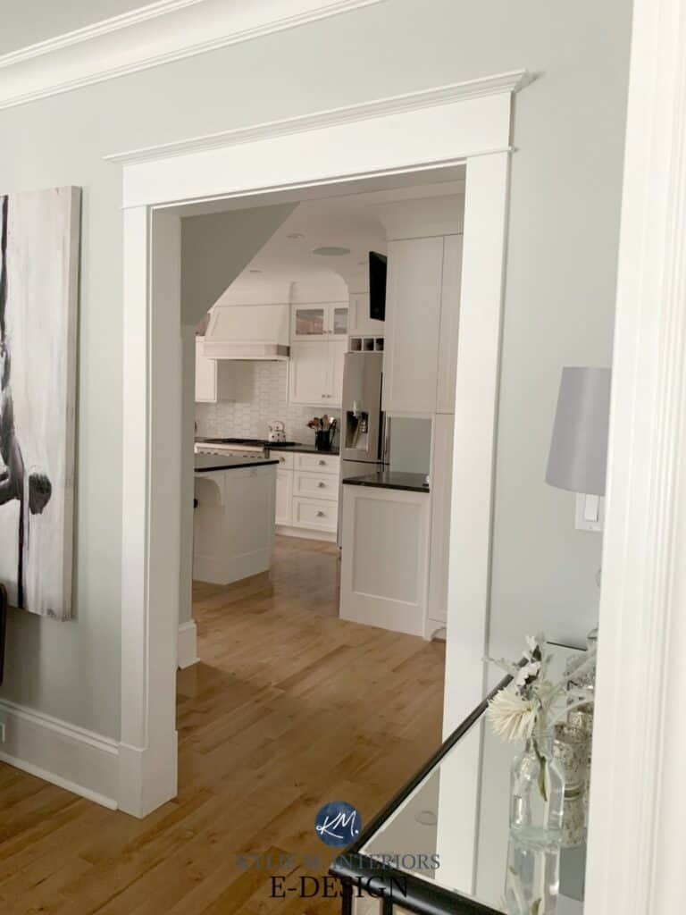 This shows Alabaster on the trim with a pale gray on the walls.