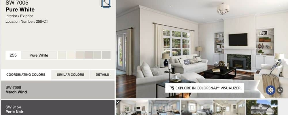 Sherwin Williams Pure White with coordinating colors and an example of it used in a family room.