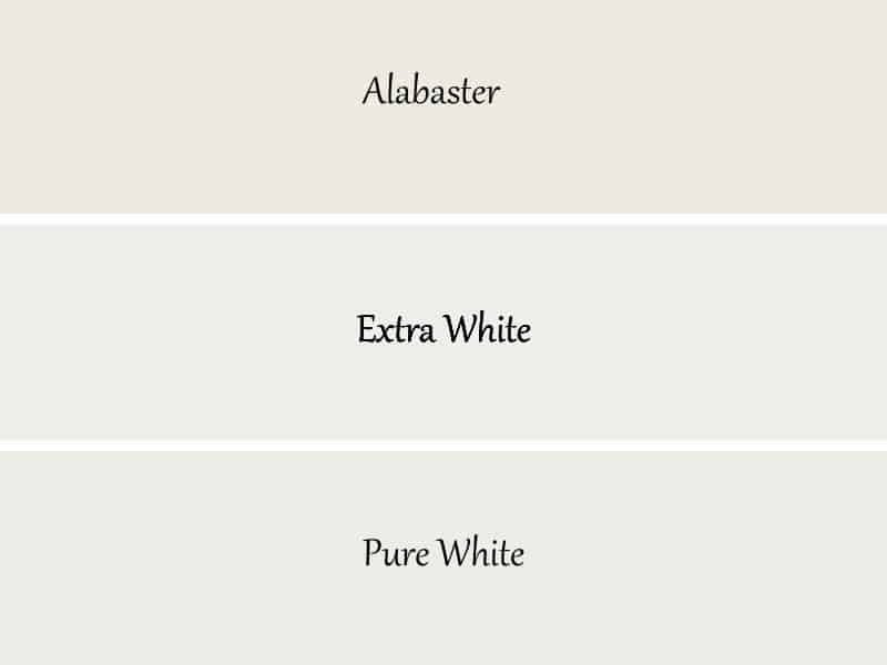 A comparison of alabaster and Extra White and Pure White.