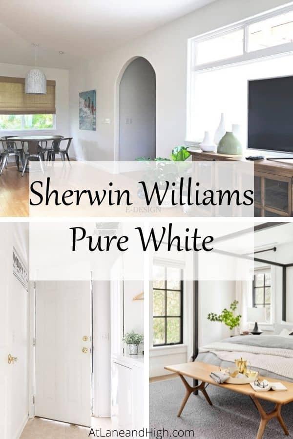 Sherwin Willoiams Pure White pin for Pinterest.
