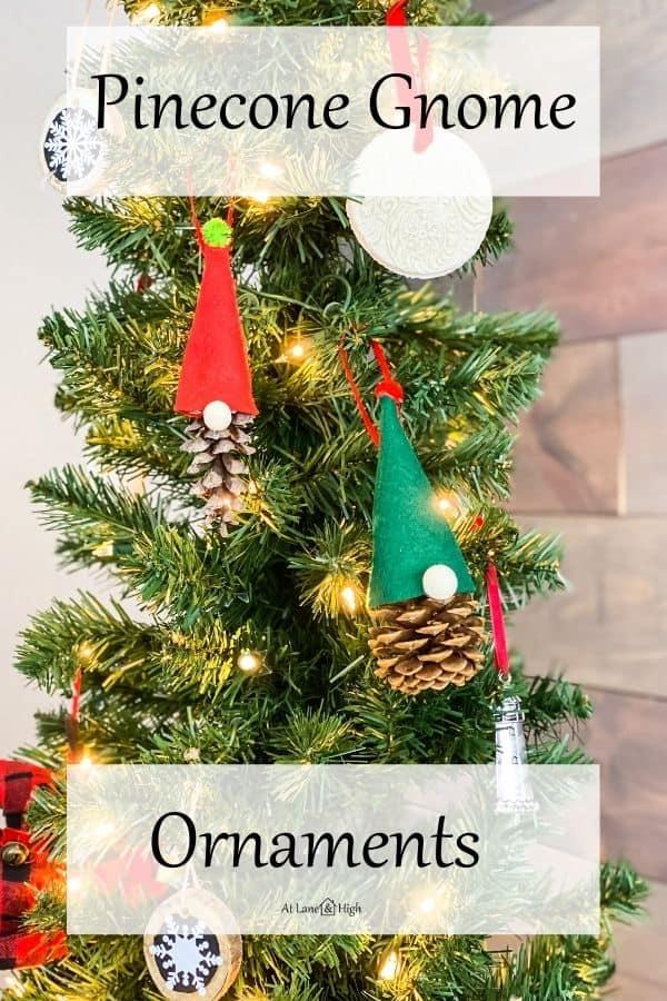 Pinecone Gnome Ornaments pin for Pinterest.