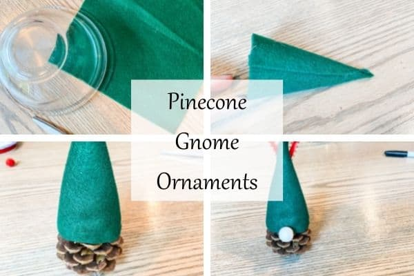 This shows 4 photos with the process of making pinecone gnome ornaments.