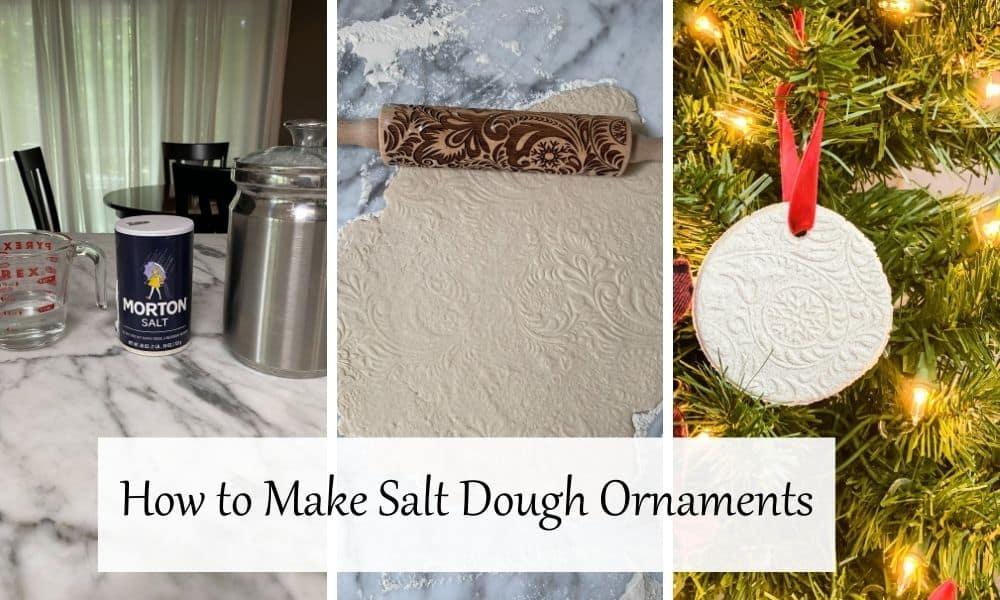Three in progress photos on how to make salt dough ornaments.
