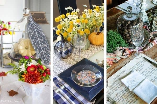 Three photos showcasing table setting ideas for Thanksgiving.